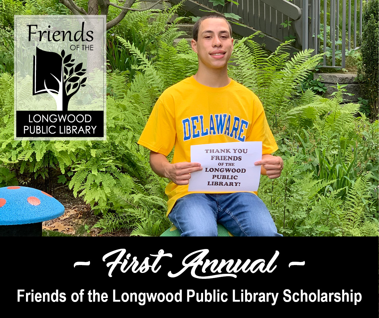 Photo of Jordon Rosales holding a sign that says thank you Friends of the Library