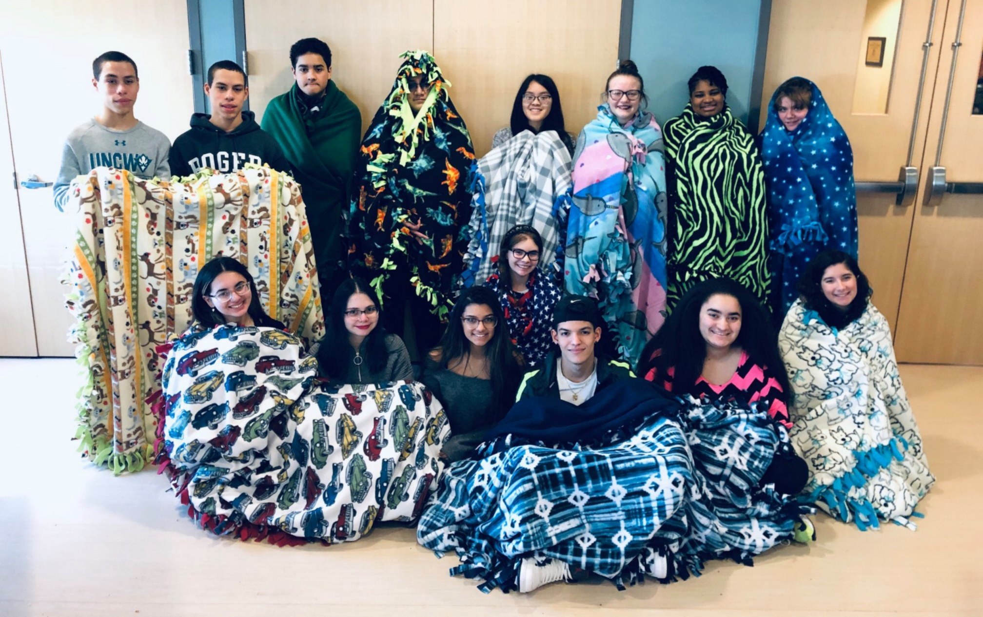 Our teen volunteers helped us make so many blankets to help keep someone warm this past winter!