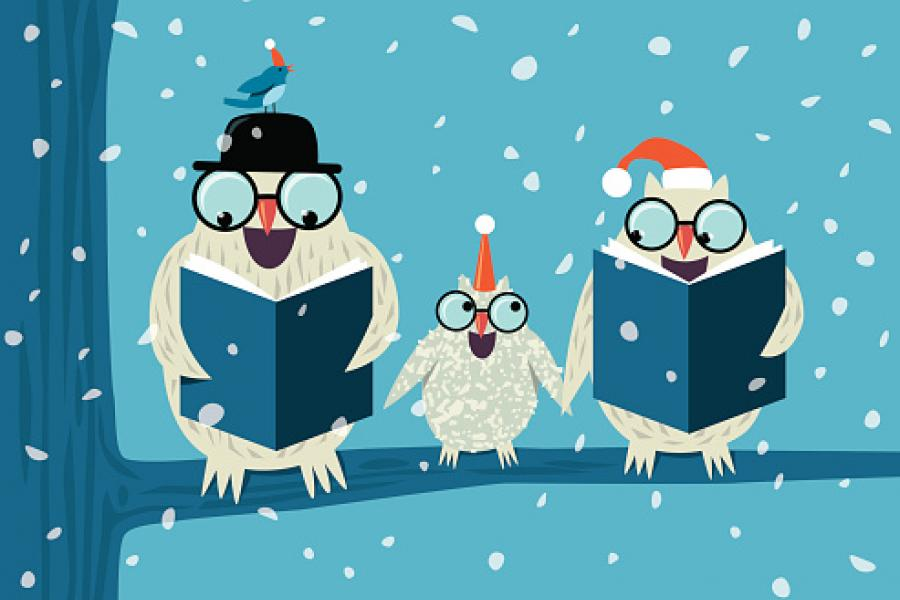 three owls reading on branch graphic